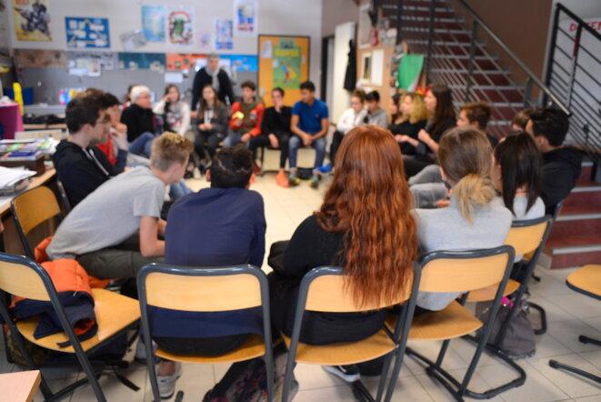 Intervention en milieu scolaire de SOS Homophobie, novembre 2018. © LF