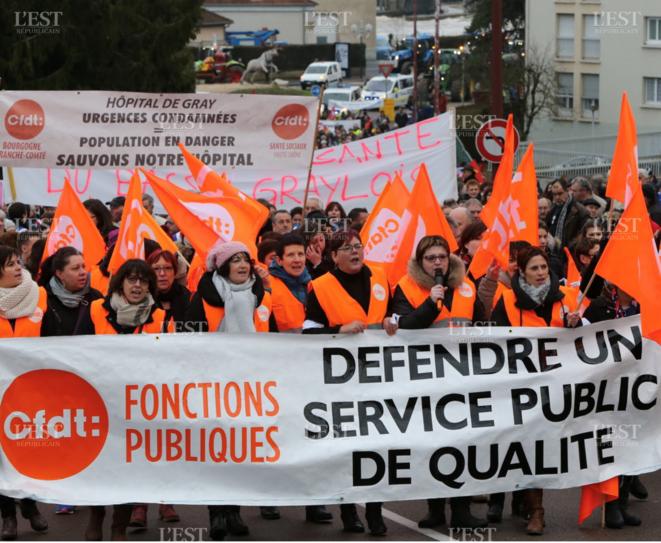 Manifestation des personnels soignants de l'hôpital de Gray en Haute-Saône, mars 2018 [Ph. Bruno Grandjean, Est-Républicain]