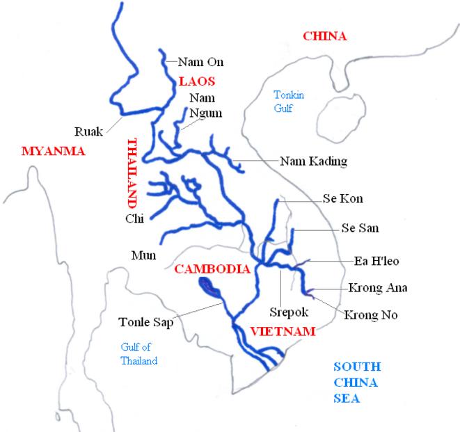 système hydrologique du Mékong © Wikipedia