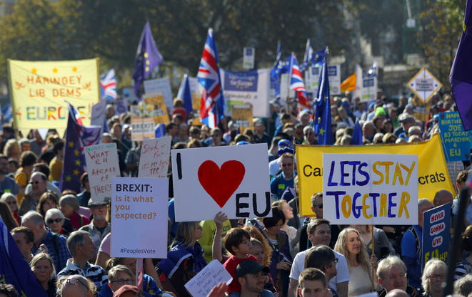 Manifestation anti-Brexit à Londres le 20 octobre 2018 © Reuters / Simon Dawson.