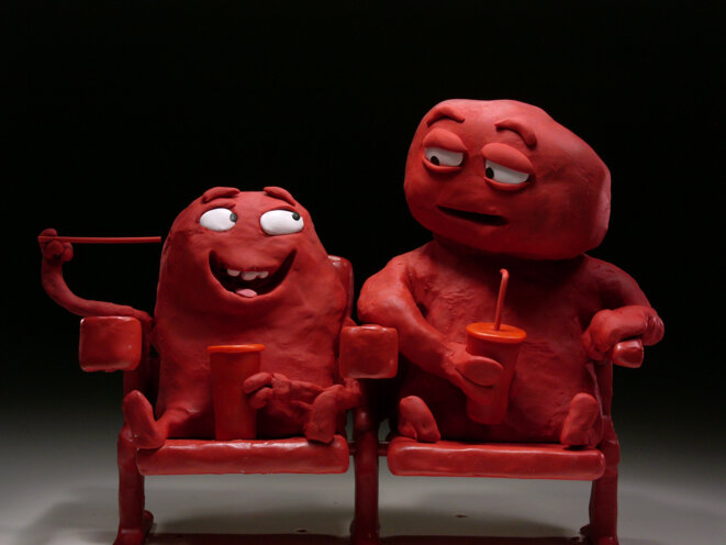 "Nick Donkin, ""Bill & Tony"", 2015, film d'animation, film publicitaire pour Coca Cola, 3 x 30'', sans dialogue. © Nick Donkin"