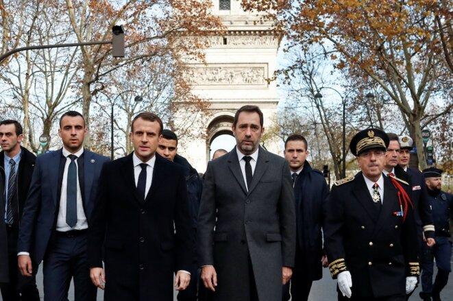 Emmanuel Macron et Christophe Castaner le 2 décembre à Paris. © Reuters