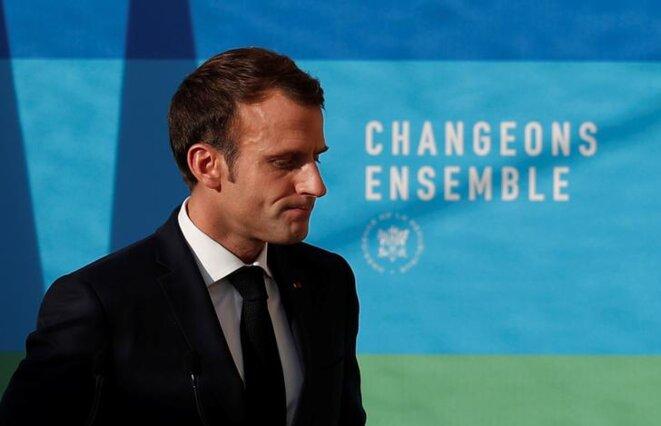 Emmanuel Macron lors de la présentation de son programme pluriannuel de l'énergie, le 27 novembre. © Reuters