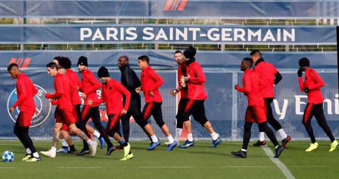 Le Paris Saint-Germain à l'entraînement. © Reuters