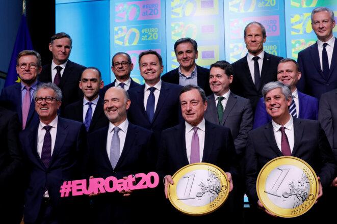 Les ministres des finances et le président de la BCE lors de l'Eurogroupe, le 3 décembre. © Reuters
