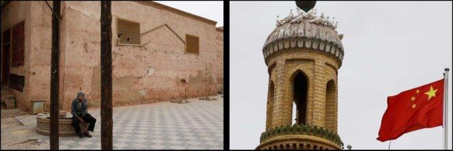 Un homme âgé (à gauche) est assis dans la vieille ville de Kashgar. Un drapeau chinois (à droite) flotte à côté de la mosquée Id Kah dans la vieille ville. © Reuters/Thomas Peter