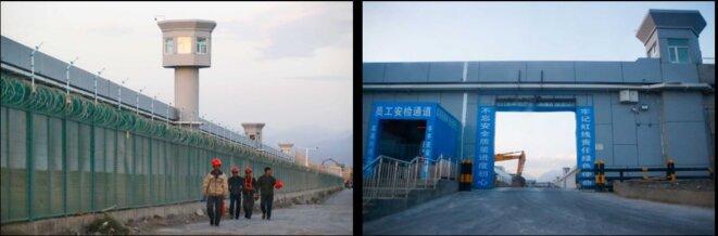 : Les ouvriers marchent le long de la clôture de Dabancheng (à gauche). Des panneaux à l'entrée du camp rappellent aux travailleurs les exigences de sécurité du bâtiment. © Reuters/Thomas Peter
