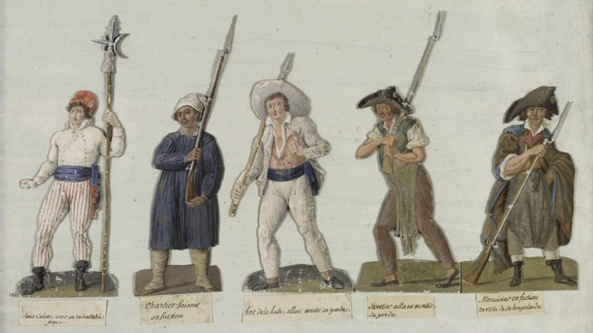 Sans-culottes en armes, gouache de Jean-Baptiste Lesueur, 1793-1794, musée Carnavalet.