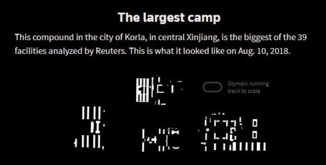 Ce complexe situé dans la ville de Korla, le plus grand des 39 établissements analysés par Reuters. Voici à quoi ressemblait le 10 août 2018. © Reuters/Simon Scarr