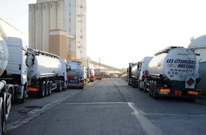 Le 4 décembre, une file de camions attendaient encore de pouvoir accéder au dépôt de carburant de Lorient. © Léonie Pondevie