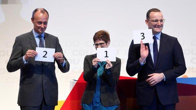 Friedrich Merz, Annegret Kramp-Karrenbauer et Jens Spahn, les trois candidats à la tête de la CDU. © Reuters