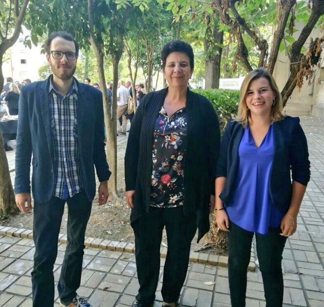 Charlyne Péculier (à droite) avec la ministre Frédérique Vidal, en octobre 2017. © Twitter / ©JAMHerault