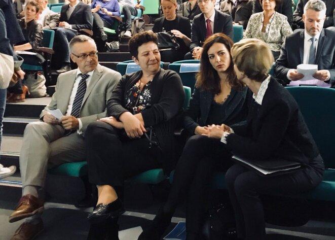 Le président de l'Université Patrick Gilli avec la ministre Frédérique Vidal et la députée Coralie Dubost en octobre 2017. © Twitter / ©CoDubost
