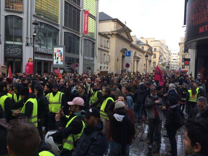 Des manifestants rue de Caumartin. © J. C.