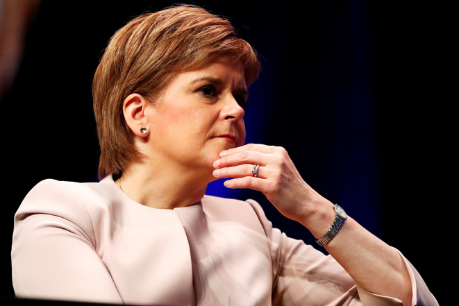 Nicola Sturgeon, la cheffe du parti indépendantiste écossais SNP, à la tête de l'Écosse, le 8 octobre 2018 à Glasgow. © Reuters/Russell Cheyne