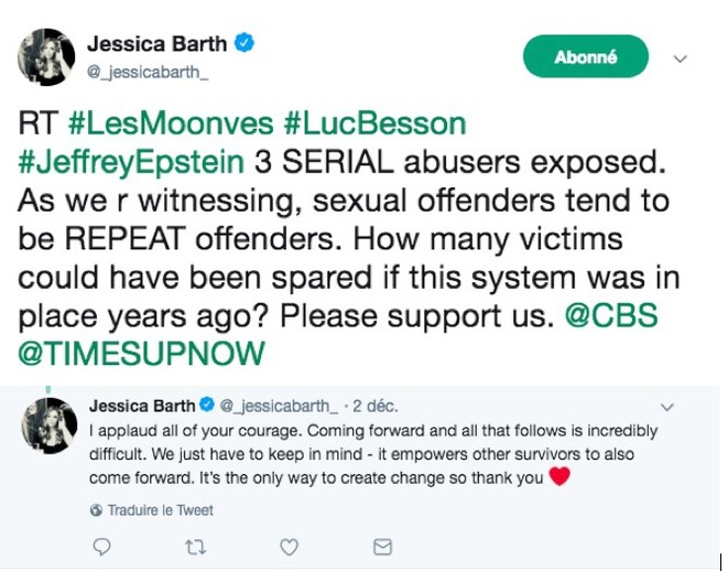 Messages posted on Twitter by Jessica Barth reacting to the latest accusations levelled against Luc Besson.