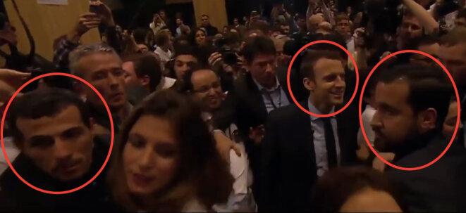 Kader Rahmouni (à gauche) assurant la sécurité d'Emmanuel Macron avec Alexandre Benalla. © Capture d'écran YouTube