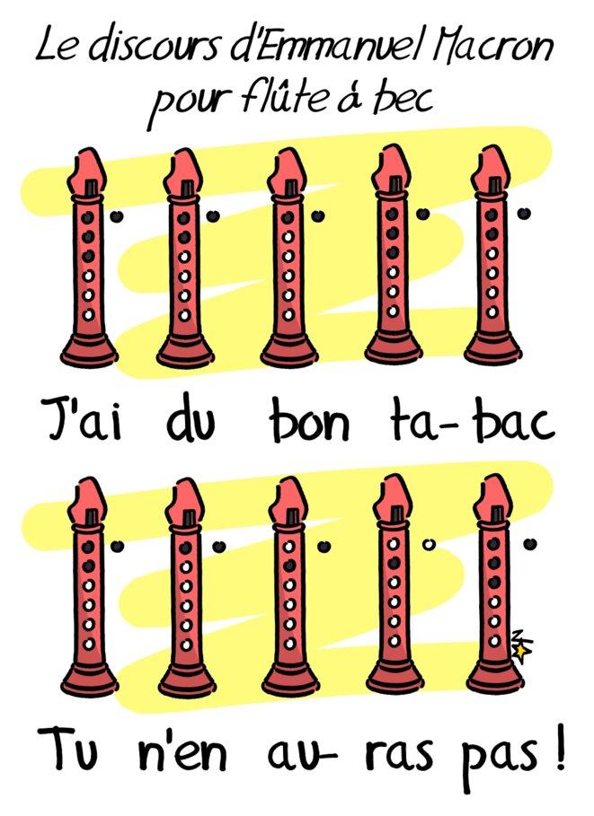 Le disours d'Emmanuel Macron : partition pour flûte © Norb