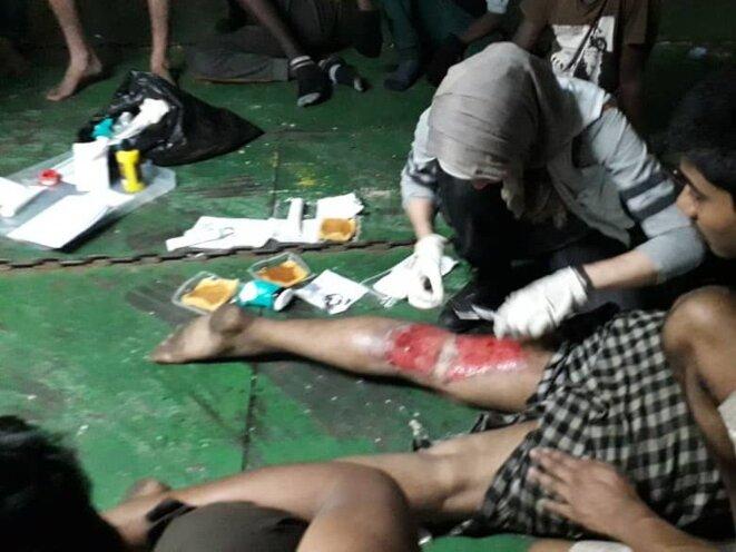 Un rescapé du Nivin, brûlé pendant la traversée © MSF