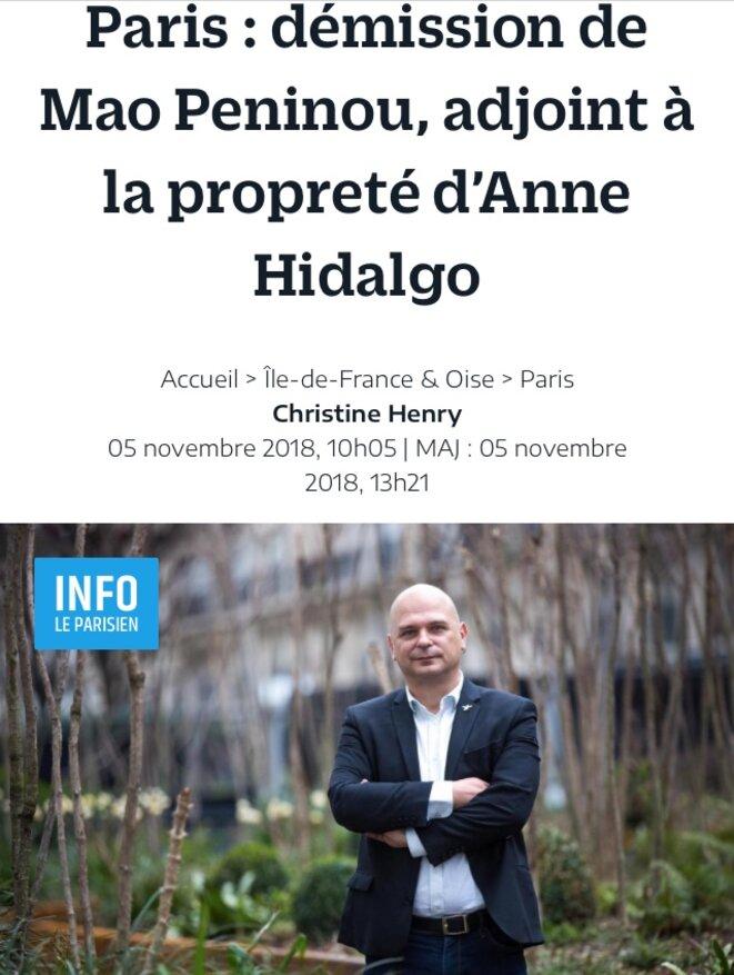"""Annonce de la démission de Mao Péninou de l'exécutif parisien suite à son ralliement à """"En Marche"""" © Le Parisien"""