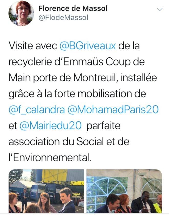 """Tweet de la 1ere adjointe """"En Marche"""" Florence de Massol à l'occasion d'une visite de Benjamin Griveaux © Twitter / Florence de Massol"""