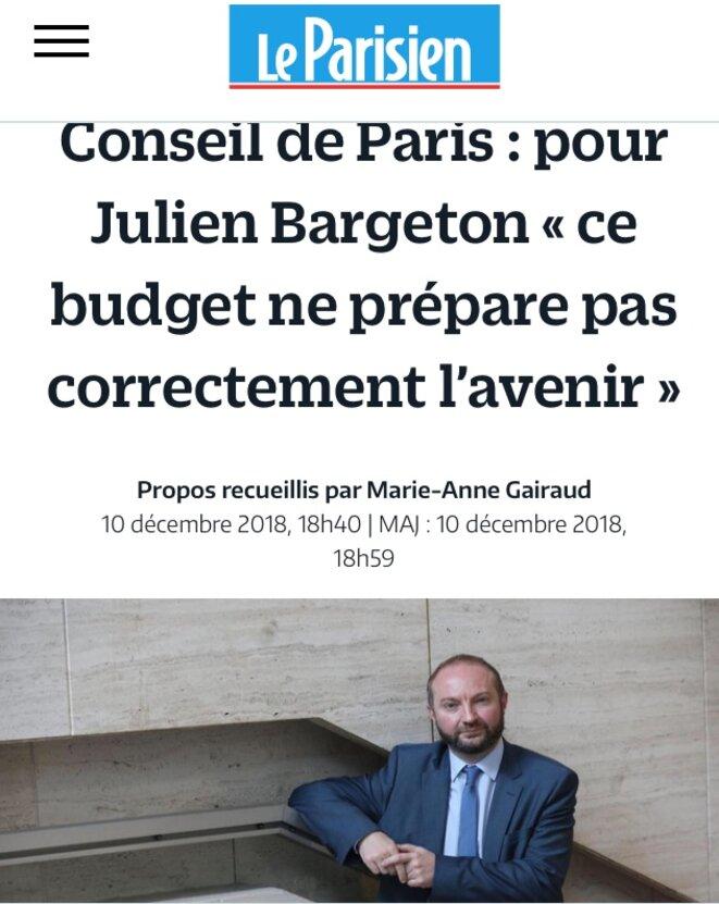 Interview de Julien Bargeton annonçant le vote contre le budget et la sortie de la majorité © Le Parisien