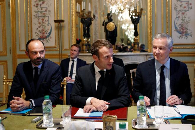 Emmanuel Macron, Édouard Philippe et Bruno Le Maire. © Reuters