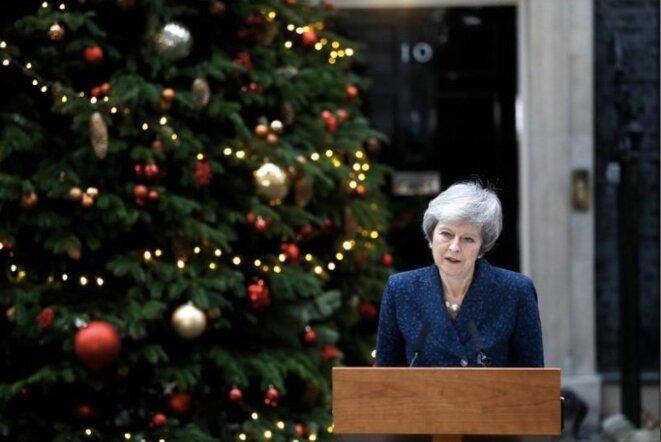 Theresa May, durant la conférence de presse du 12 décembre 2018. © Peter Nicholls / reuters