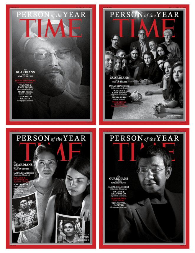 Jamal Khashoggi (en haut à gauche) et les journalistes harcelés, nommés «Personnes de l'année» par le magazine «Time».