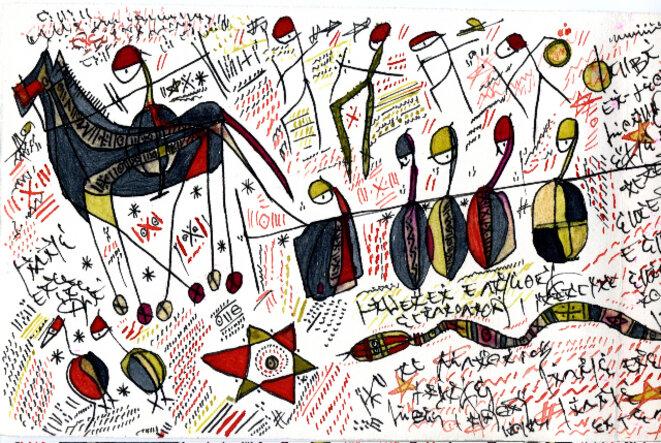 Manuscrits de Hawad, alphabet tifinagh (Amazigh/Touareg) © Hawad