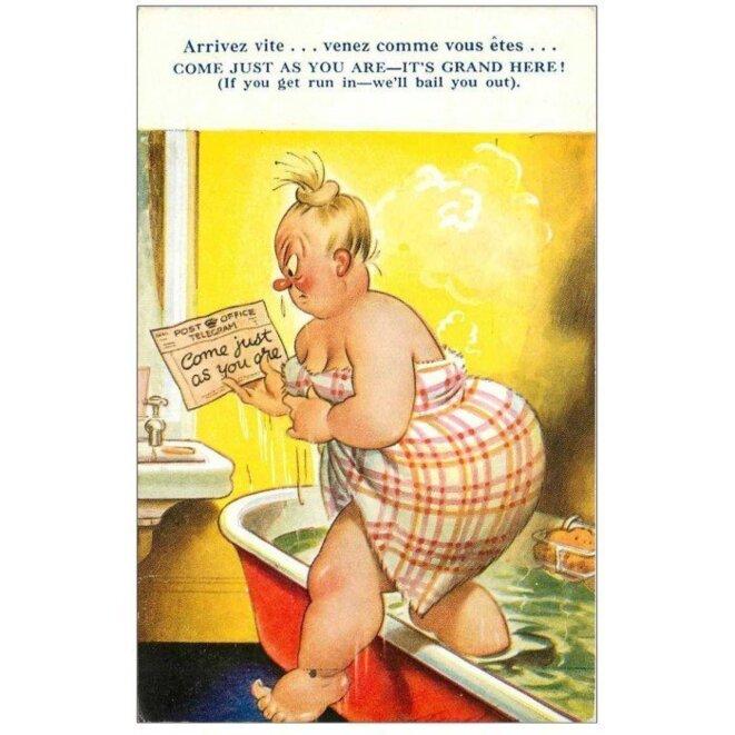carte-postale-ancienne-royaume-uni-fantaisie-comique-come-juste-as-you-are-its-grand-here-arrivez-vite-femme-en-baignoire