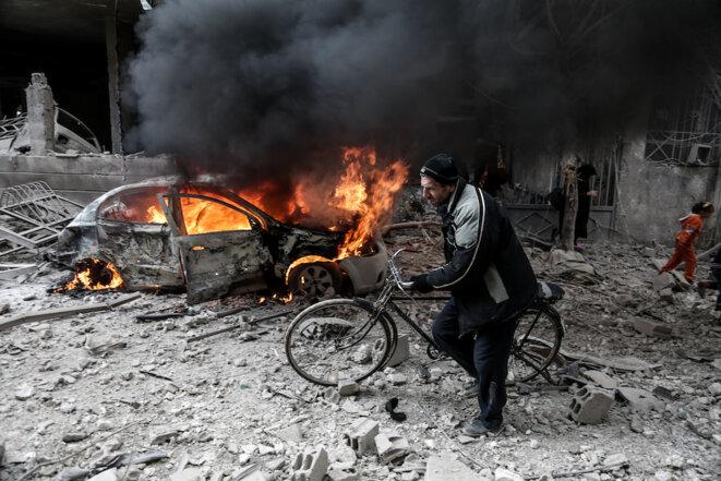 6 janvier 2018. À Hamoria, dans la Ghouta orientale, après une attaque aérienne russe. © Abdulmonan Eassa