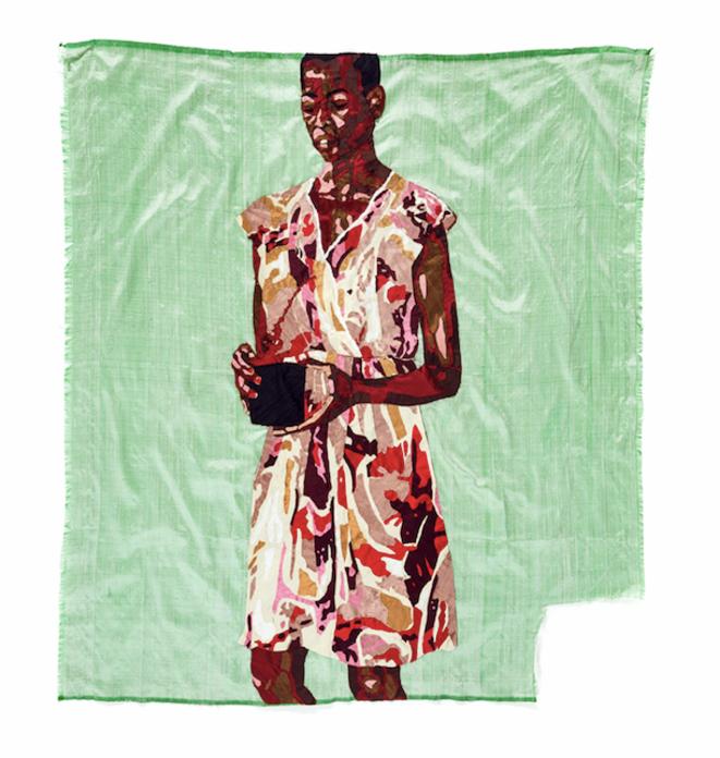 """Billie Zengawa, tenture de soie, exposition """"Soft power"""", commissariat Julie Crenn, Le Transpalette, Centre d'art contemporain, 2018, © Billie Zangewa, courtesy galerie Imane Farès, Paris."""