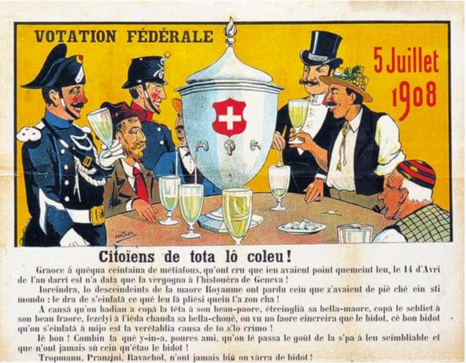 Détail d'une caricature à propos de la votation de 1908, parue dans le journal satirique genevois Guguss' (Museum für Gestaltung Zürich, Plakatsammlung, Zürcher Hochschule der Künste). Source : DHS.