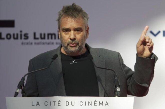Luc Besson lors de l'inauguration de la Cité du cinéma, à Saint-Denis, en 2012. © Reuters
