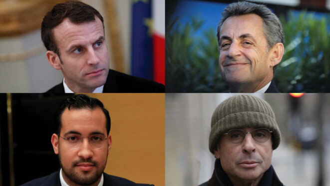 Clockwise from top left: Emmanuel Macron, Nicolas Sarkozy, Alexandre Djouhri and Alexandre Benalla. © Reuters