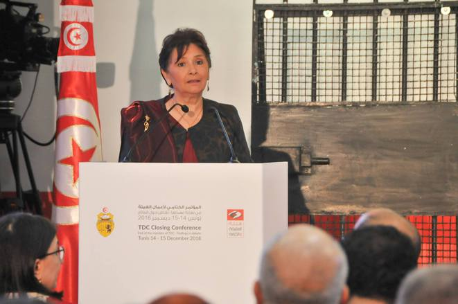 Sihem Bensedrine, president of Tunisia's Instance Vérité et Dignité (IVD) or the Truth and Dignity Commission, at its last meeting. © DR