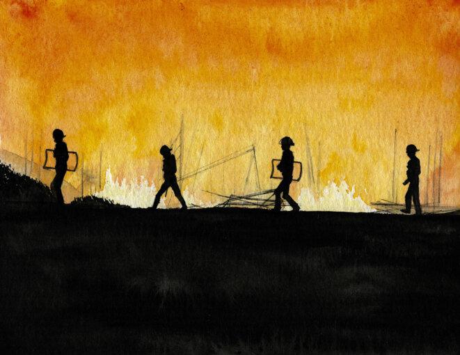 "Incendie dans la ""jungle"" de Calais, en octobre 2016 © Elisa Perrigueur"