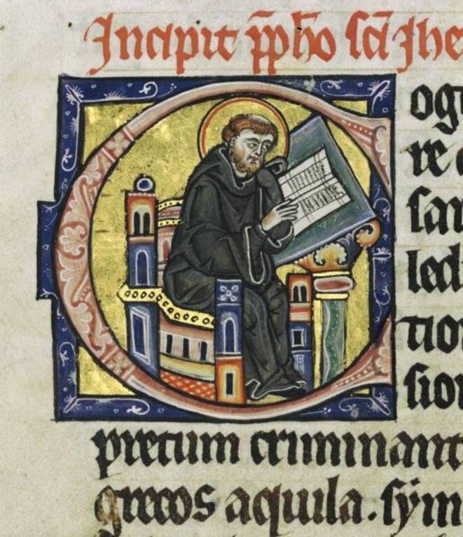 Lettrines C représentant un moine relisant un texte écrit sur une feuille de parchemin, Bible de Hambourg ,vers 1255