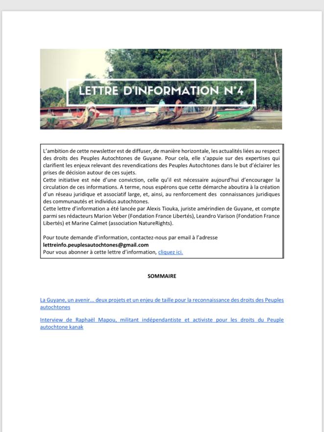 Droits des Peuples Autochtones de Guyane. Lettre d'Information Nº4