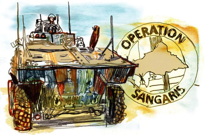 Prévue pour durer six mois, l'opération Sangaris s'est déroulée pendant près de trois ans en Centrafrique. © Damien Roudeau/Zero Impunity