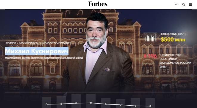 Carpture d'écran du magazine Forbes, consulté le 28 décembre 2018. © CB