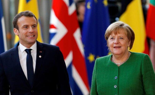 Emmanuel Macron et la chancelière allemande Angela Merkel. © Reuters
