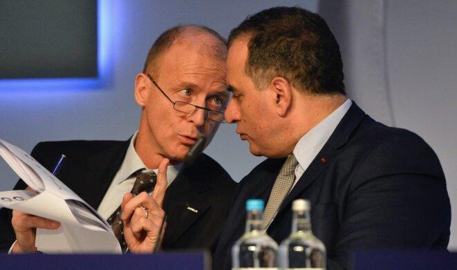 Tom Enders et Marwan Lahoud, alors directeur du SMO, en 2016. © Reuters