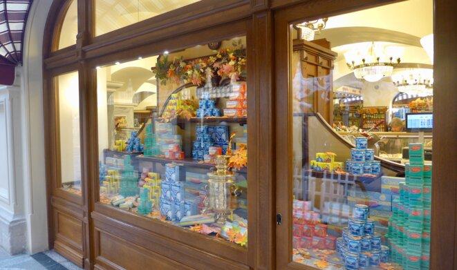 En vitrine, des produits soviétiques à l'honneur. © CB