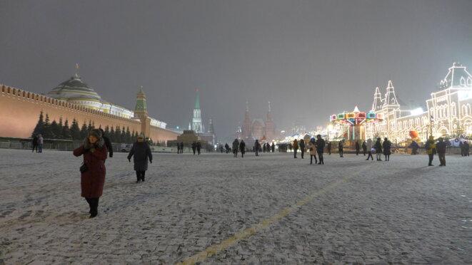 Place Rouge, face à face le Kremlin et le Goum illuminé. © CB