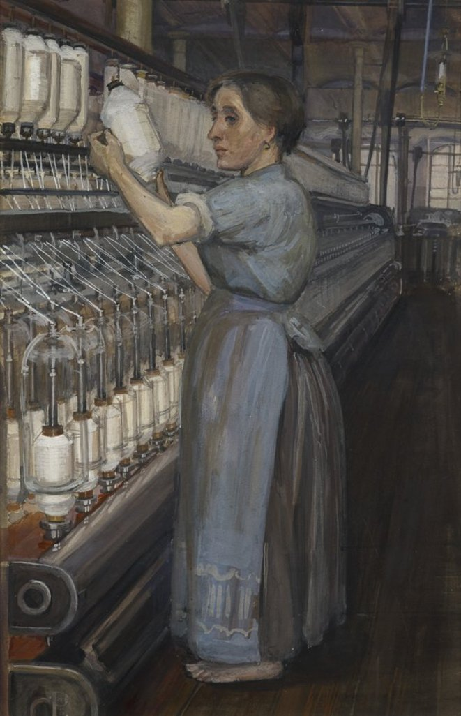 Woman in a Glasgow cotton spinning mill changing the bobbin © Sylvia Pankhurst