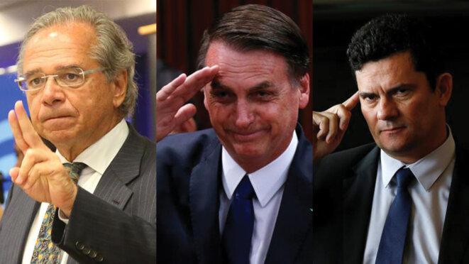 Jair Bolsonaro et ses deux « super-ministres », Paulo Guedes et Sérgio Moro. © Reuters