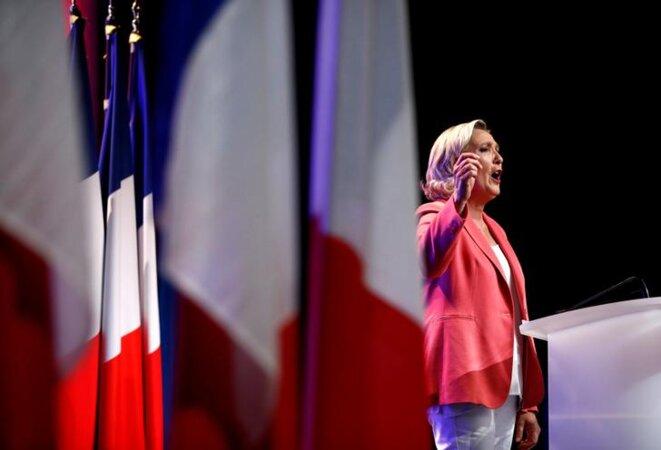 Marine Le Pen à Mantes-la-Ville le 23 septembre 2018. © Reuters