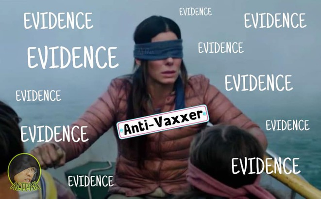 "Détournement par la page FB ""Alternative Dr Pan"" d'une scène du film ""Bird Box"" © https://www.facebook.com/altpan/photos/a.854448608091074/1020268041509129/?type=3&theater"
